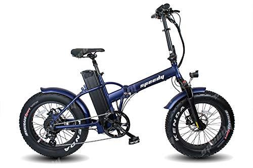 Speedy Ebike - Sport 250w 48v - 17,5ah Bicicletta Elettrica Pieghevole Fat Bike (Blu Sainato)