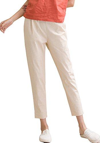 ONECHANCE Frauen Leinen Baumwollmischung Elastische Taille Capri Hose mit Taschen Beige