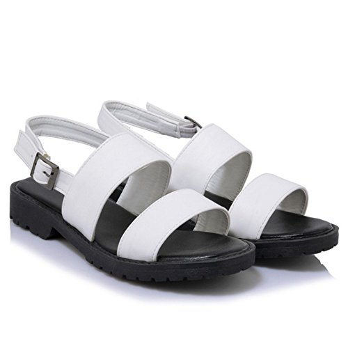 COOLCEPT Femmes Mode Slip On Sandales Orteil ouvert Singback Talon Plats Chaussures Blanc