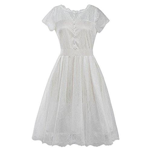 JOTHIN Damen Retro Aushoshlen Spitzenkleid Kurz ärmel Frauen Einfarbige Casual Kleid Sommerkleid Große Größen Weiß