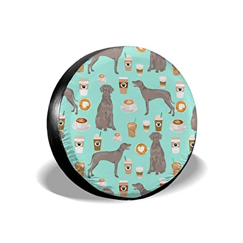 Weimaraner Dog Coffees and Dogs Design Aqua Polyester Universal Spare Wheel Tire Cover Wheel Covers Jeep Trailer RV SUV Truck Camper Travel Trailer Accessories(14,15,16,17 Inch)17inch -