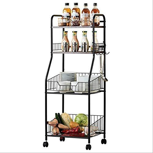 JCNFA Bücherregal Fahrbar Es Kann Sich Bewegen Multifunktionsnetzkorb Geeignet Für Wohnzimmer Küche Schlafzimmer Badezimmer