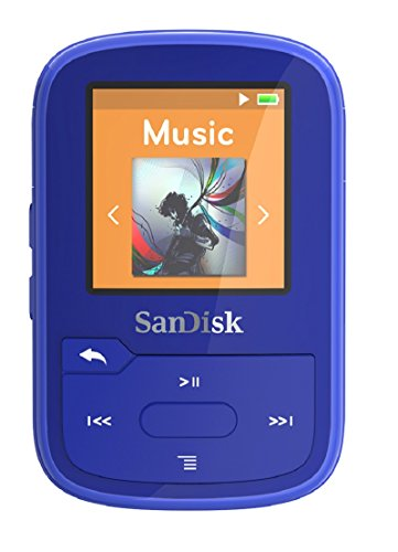Reproductor MP3 SanDisk Clip Sport Plus de 16 GB, resistente al agua, color azul