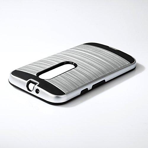 EGO® Coque rigide pour Motorola Moto X style Doré métallisé Effect Aluminium Brossé Housse Cover Coque bumper etui Silber