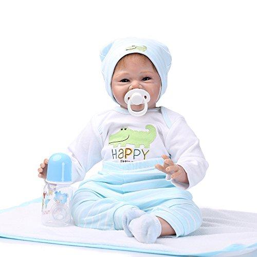 Decdeal Junge Reborn Baby Puppe Silikon Babypuppe 55cm mit Kleidung (Echte Jungen Schuhe)