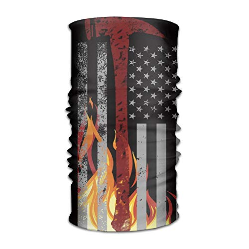ZQQZ Firefighter Thin Red Line Flag Multifunctional Magic Headwear 12-in-1 Men&Women Tube Scarf Facemask Headbands Neck Gaiter Bandana Balaclava Helmet for Outdoor Running Yoga Work Out