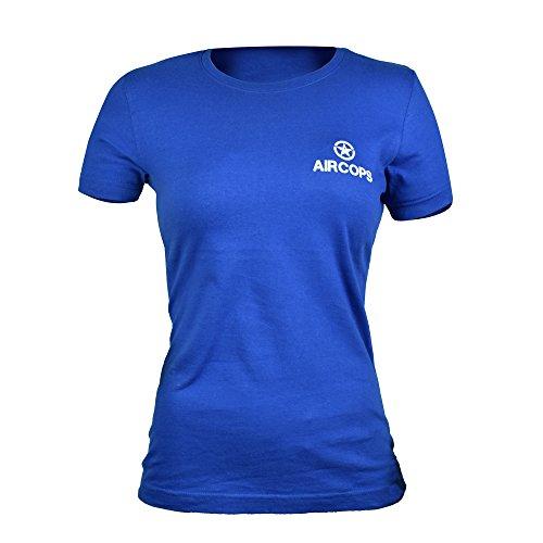 Aircops Damen T-Shirt Weiß Weiß Königsblau