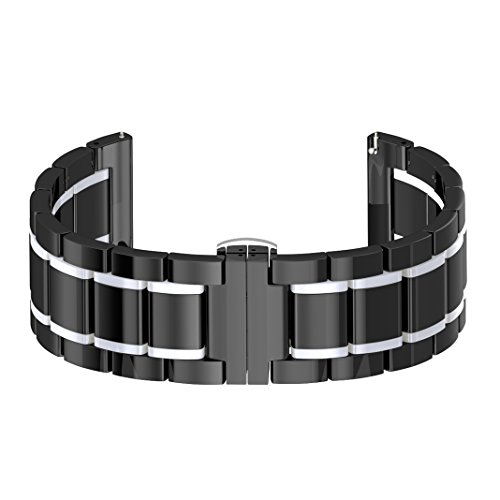 Gear S3 Armband Keramik Schwarz/Weiß,Samsung S3 Frontier Uhrenarmband,Ersatz Bands für Samsung Gear S3 Sport Classic Smart Watch,S3 Sport Strap Uhr Ersatzarmband