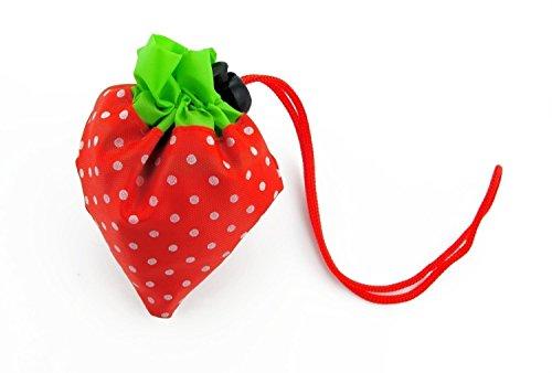 Arbre Portable Fraise pliable Sacs à provisions réutilisables Sacs d'épicerie pliant en nylon (Rouge)