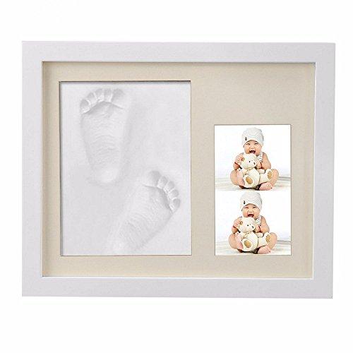 ZSTmei Baby Handabdruck und Fußabdruck Bilderrahmen Baby Hand Foot Print mit 1 Teiliger Rahmen für Foto Babyandenken Baby Andenken