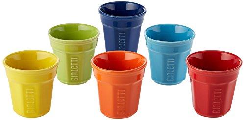 Bialetti Y0TZ500 Set de 6 Bicchierinis Céramique Multicolore