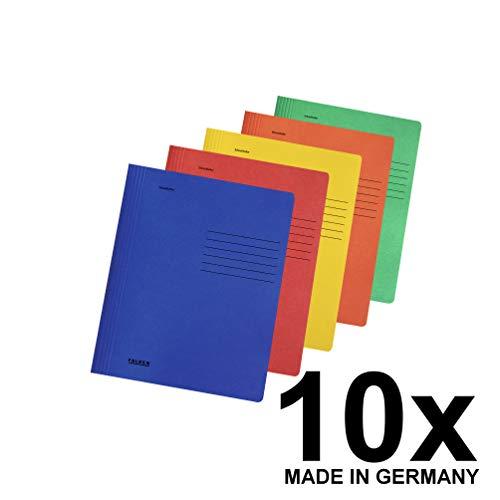 Original Falken 10er Pack Schnellhefter Intensivfarben. Made in Germany. Aus Recycling-Karton für DIN A4 kaufmännische und Behördenheftung farbig sortiert Hefter ideal für Büro und Schule