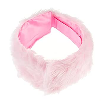 Lady | Girls Faux Fur Hairbands Faux Fur Headbands Ear Warmers Earmuff Headband (Baby Pink)