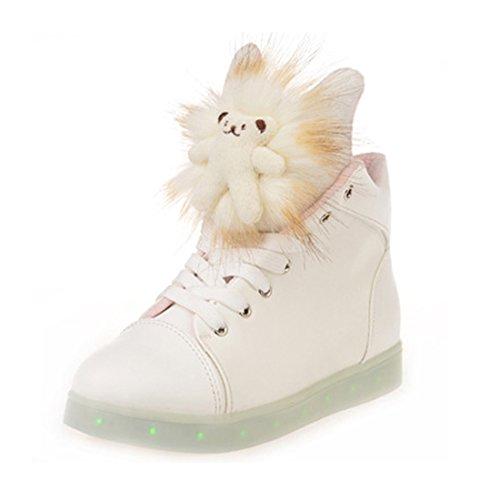 O&N LED Schuh USB Aufladen 7 Farbe Leuchtend Sportschuhe Sneakers Turnschuhe Freizeit Schuhe für Damen Kinder Weiß