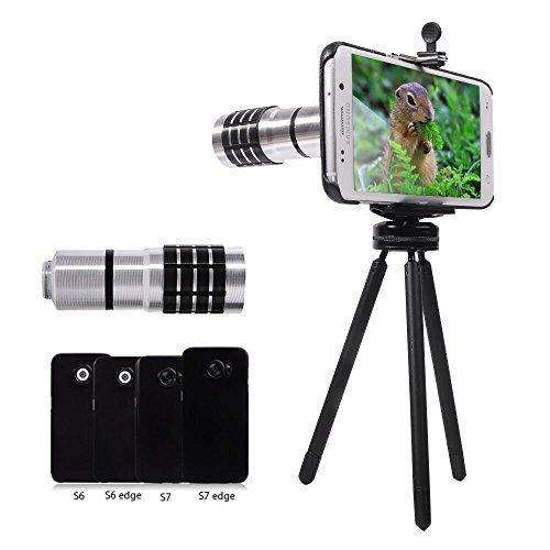 Zoom Teleobjektiv Handy Linse - Evershop 10X Handy Kamera Objektive Kit für Samsung Galaxy S7/S7 Edge/ S6/S6 Edge mit Stativ,Telefonhalter ,Telefon Case ,Reinigungstuch (Nicht für S6 aktiv, Silber)