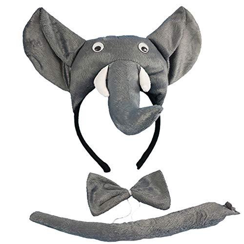 Zygeo - Kind-Jungen-Mädchen-Multiples Tier Stirnband Fliege Endstück Cosplay Set Geburtstags-Party-Performance-Props Halloween-Kostüm [Elephant]