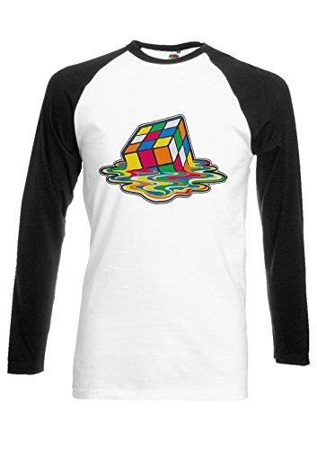 Melted Melting Rubix Cube Big Bang Novelty Black/White Men Women Unisex Long Sleeve Baseball T Shirt-L -