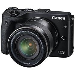 Canon EOS M3 Fotocamera Mirrorless da 24 Megapixel con Obiettivo EF-M 18-55 mm, con View Finder e con Mirino Elettronico EVF-DC1, Nero