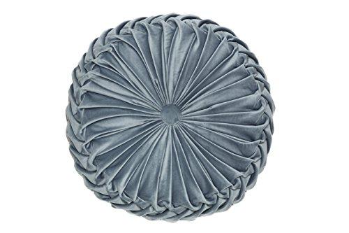 YSN Home Collection - Wunderschönes Kissen Zierkissen Samt Gefühl plissiert mit eleganter Knopfraffung Rund (grau, 1)