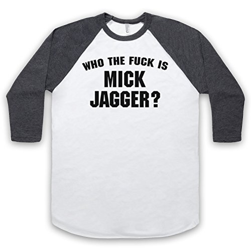 Inspiriert durch Who The Fuck Is Mick Jagger As Worn By Keith Richards Unofficial 3/4 Hulse Retro Baseball T-Shirt Weis & Dunkelgrau