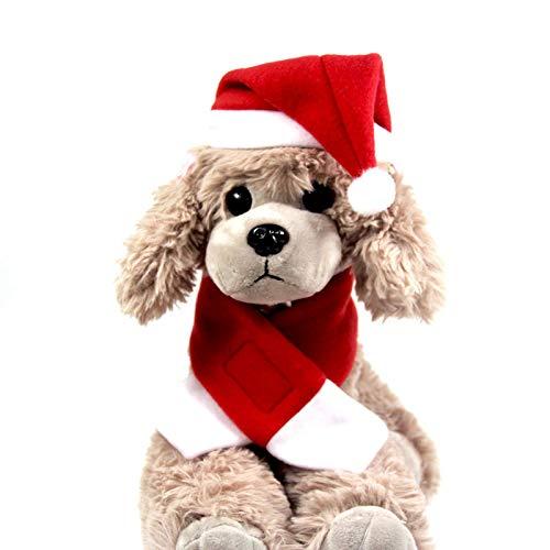 QFY Weihnachtsschal und Mütze für Haustiere, einlagig, Samt, stabil