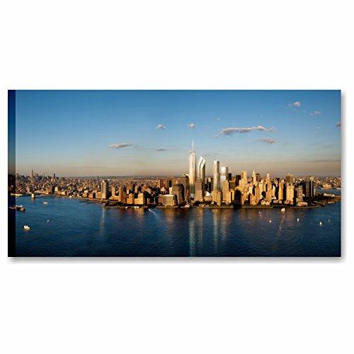 Quadri L&C ITALIA Karo L & C Italien Manhattan Skyline 6-90x 45cm Rahmen modern artiginale auf Leinwand Made in Italy wandhängend Drucke Deko Stadt New York Meer -