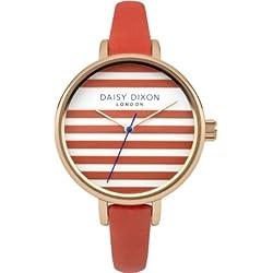 Daisy Dixon Womens Lauren Orange Leather Strap Orange And White Dial DD025ORG