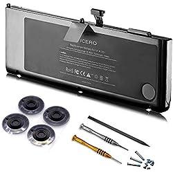 """ICERO 78Wh Bonne qualité Nouveau Batterie Ordinateur PC Portable pour Apple MacBook Pro 15"""" Unibody A1321 A1286 (Mid 2009 Mid 2010)- Garantie 18 Mois 7200mAh A1321"""