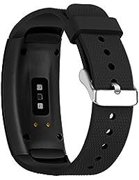 Mira la banda,SAMSUNG Samsung Gear Fit2 Pro Correa Smart Watch correa de repuesto correa de silicona TPU,Nueva luz de moda pulsera correa de reloj correa de reloj inteligente (Espacio profundo negro)