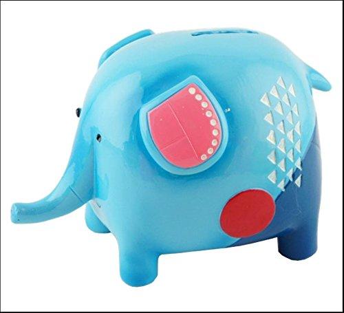 Hucha de resina de Fun de elefante azul 17cm