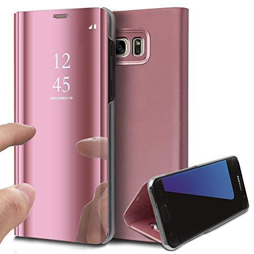 Robinsoni für Samsung Galaxy J5 Prime Spiegel Hülle Lederhülle Mirror Clear View Standing Hülle Leder Spiegel Schutzhülle PU Brieftasche Flip Case Cover Wallet Tasche Etui Hülle Galaxy J5 Prime,Rose