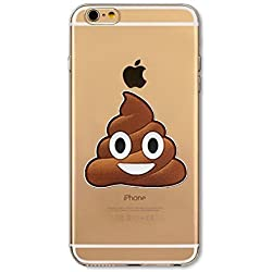 Phone Kandy® Emoji Claro TPU Transparente Funda de silicona ultra fina y protector de la pantalla carcasa funda (iPhone 7 PLUS (5.5 pulgada), Poo)