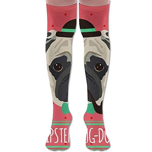 YudoHong Women Over Knee High Socks Smoking Pug Extra Long Athletic Sport Tube Strumpfs (Smoking Socks)