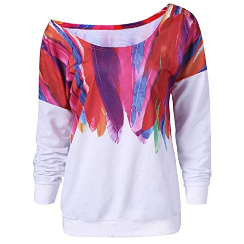 (JERFER Feder Print Pullover Bluse DamenBeiläufige lose lange Hülse Mode Sweatshirt)