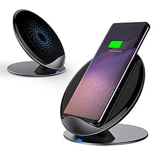 AURSEN Fast Wireless Charger, 10W Qi Kabellose Ladegerät für Samsung Galaxy S8/S8 Plus/S9/9+/Note 9/Note 8/S7/S6, Induktive Ladestation Schnellladestation für iPhone X/8/8+/iPhone XR/XS MAX - Grau