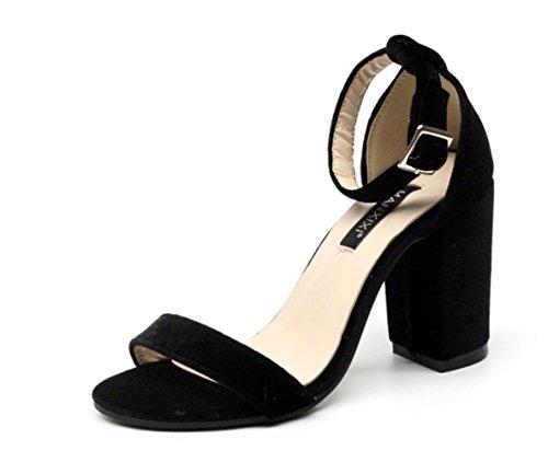 YCMDM Femmes Simple Suède Boucle Word Gold Velvet Chaussures à talons hauts Chaussures Chaussures Simple Black