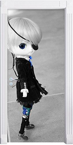 piuttosto ribelle bambola Pullip con benda sull'occhio nero / bianco murale, Formato: 200x90cm, telaio della porta, adesivi porta, porta decorazione, autoadesivi del portello