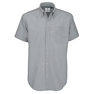 B&C Men's Oxford Short Sleeve Shirt Casual, Grey (Silver Moon), 19.5 (Size:4XL)