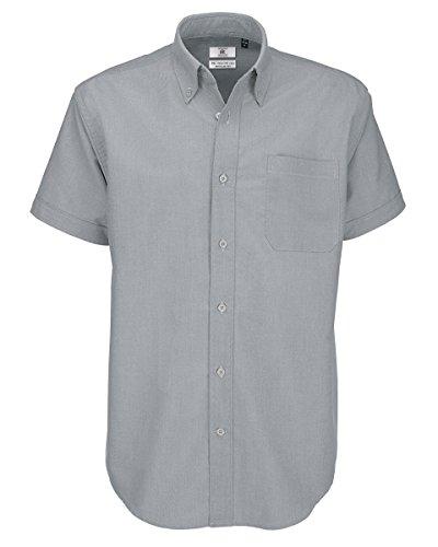 B&c - camicia classica manica corta - uomo (xl) (grigio argento)