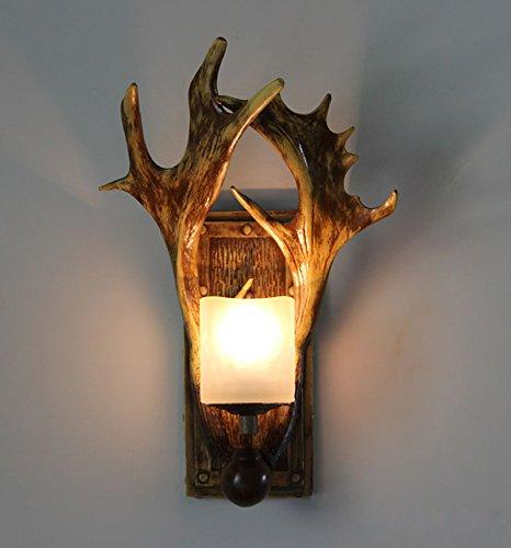 Klassische Antike Messing Wand (NBLYL 3W LED-Wandleuchte Harz Wandbeleuchtung Geweih Wandlampe für Wohnzimmer Schlafzimmer Bar Kaffee (einschließlich Lichtquelle))