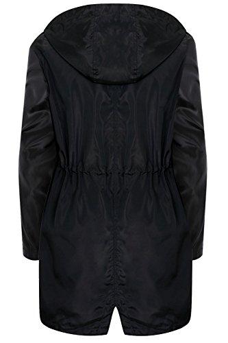 yoursclothing Plus Taille minimaliste Parka Veste pour femme avec col haut à fermeture Éclair Noir