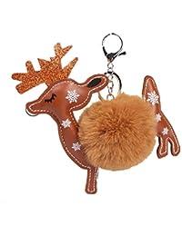 PULABO Llavero de Navidad con diseño de ciervos de peluche para llavero de coche