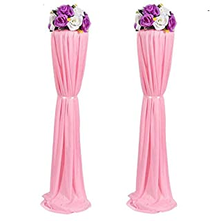 Amon Tech 8PCS Elegant Wedding Flower Column Plastic Road Lead Flower Stand with Cloth Cover for Wedding Party Decoration(Pink,120cm)