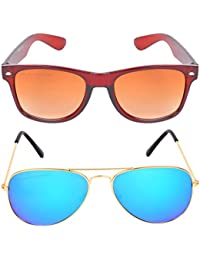 Criba Combo Of 2 Wayfarer (Brown) Aviator (Mercury) Unisex Perfect Fit & Stylish Sunglasses Kc Bn+gbl_CRLK03