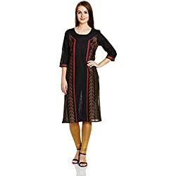 Aurelia Women's Straight Kurta (17FEK13095-62165_L_BLACK)