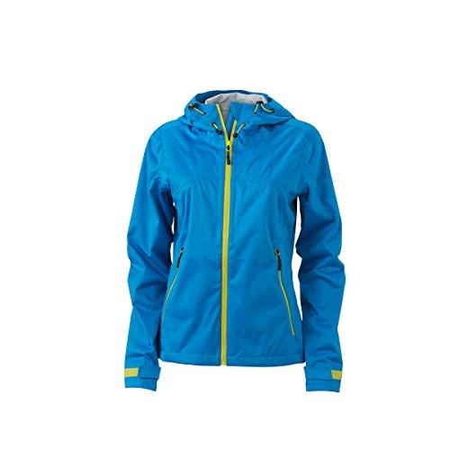 JAMES & NICHOLSON - Veste softshell imperméable et respirante - trekking - sports - JN1097 - Femme bleu aqua - jaune acide