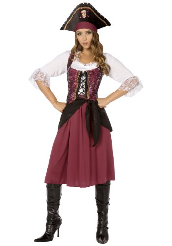 Plus Burgundy Pirate Wench Fancy dress costume -