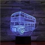 Auto a due piani visiva 3D 16 Modifica del colore LED Telecomando Lampada da scrivania USB Luce notturna il compleanno dei bambini e i regali di Natale