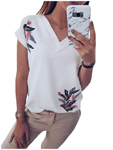 CuteRose Women Floral Tribal Tops V-Neck Short Sleeves Comfy Chic T-Shirt White M Banana Republic Band
