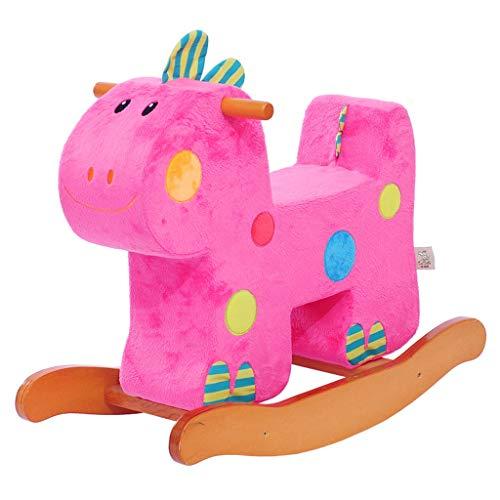 Schaukelspielzeug Spielzeug Schaukelpferd Früherziehung Puzzle Baby Kindersitz Kinder Holzpferd Box Dinosaurier Baby Geschenk (Farbe : Pink)